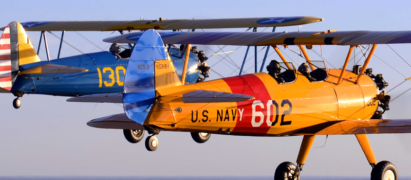 Stearman with Navy Plane in flight